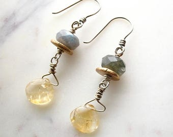 golden and grey gemstone earrings : gemstone jewelry - mixed metal jewelry - bronze, labradorite, citrine