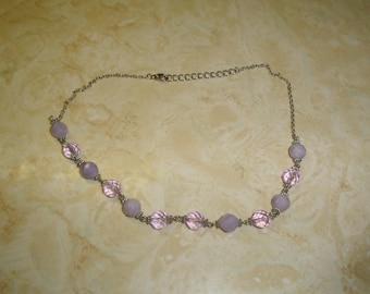 vintage necklace silvertone chain purple lilac lucite glass