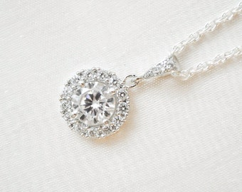 Crystal Necklace, Bridal Necklace, Round Crystal Pendant, Sterling Silver Chain, Wedding Necklace