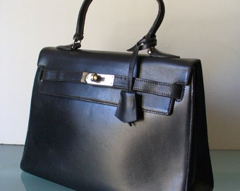 Vintage Vijoux. Sellier Made in France Leather Kelly Bag
