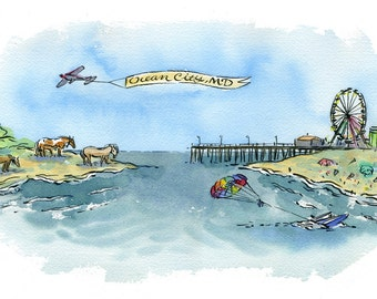 Ocean City Maryland Assateague Island illustration watercolor print in multiple sizes