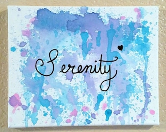 Serenity Original Acrylic on Canvas, Abstract Painting, Inspirational Art, Motivational Art, Home Decor Wall Art, Word Art, Fluid Painting