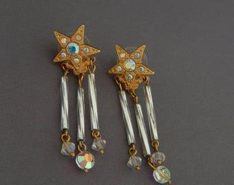 Kirks Folly Star Earrings With Crystal Charms
