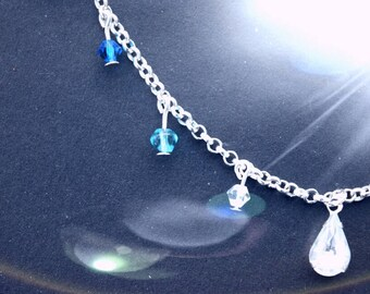 Silver-plated glass raindrop necklace