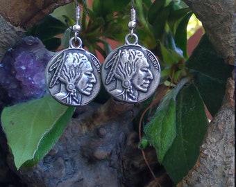 Buffalo Nickel Charm Earrings