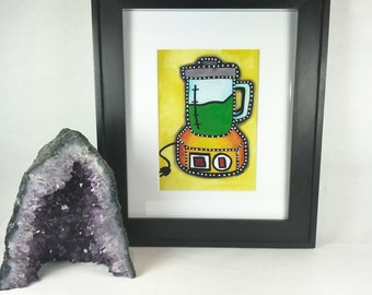 Green Smoothie - Matted Mixed Media Art Print - 5x7 matted to 8x10 inches - Ready to Frame