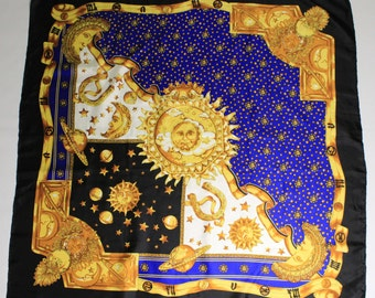 rare Loris Azzaro Paris vintage Space silk Scarf night day cosmic 85x85