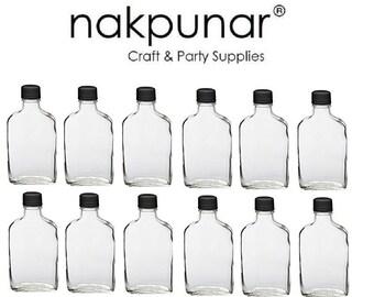 12 pcs (200 ml ) Flask Bottle with Black Tamper Evident Cap