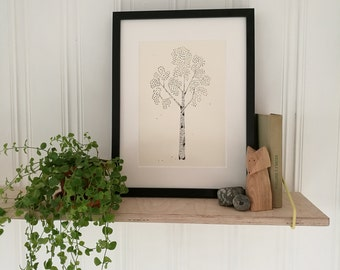 Birch. A4 Print of original paper cut and collage art work.