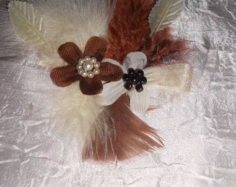 "Hairpin ""wedding procession"" ivory and brown colors"