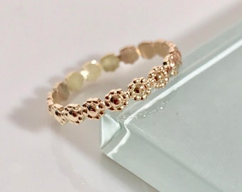 14k Flower ring, 14k Floral Ring, 14k Vintage Style Ring, 14k Daisy Ring, 14k Daisy Flower Ring, 14k midi ring, 14k Wedding Ring