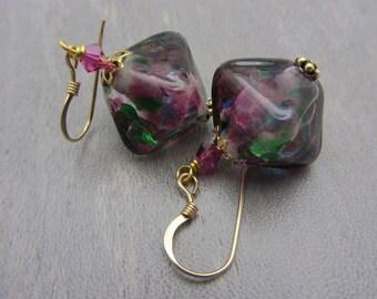 Mottled Lampwork Earrings Lampwork Glass Artisan Earrings Bicone Diamond Shape Earrings SRAJD USA Handmade