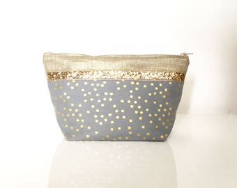 """Make up Case made in gold linen and  grey cotton with golden dots and  glitter  """"Milly"""" // purse // bathroom"""