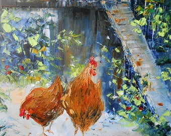 "Painting ""Red hens in the Henhouse"""