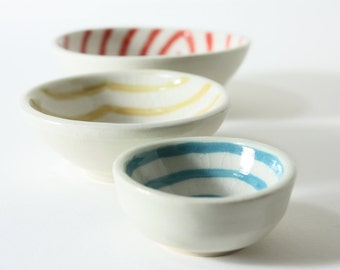 modern trio of small porcelain bowls with fun graphic glazes SET OF 3 coral, tangerine, turquoise