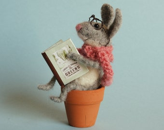 Needle felted bunny with book. Felted hare. Needle felted rabbit. Gardener. Gift for garden lover. Home decor. Birthday goft. Felted dreams.