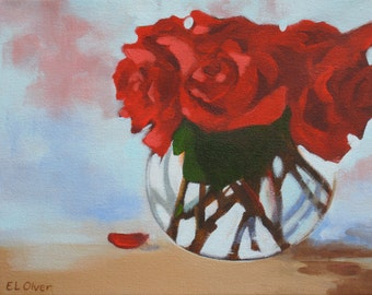 """Red Roses in Vase Original Acrylic Painting Canvas 8"""" x 10"""""""