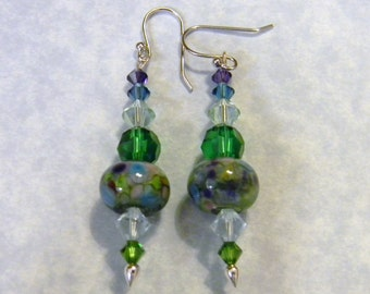 Art Glass Lampwork and Crystal Drop Earrings
