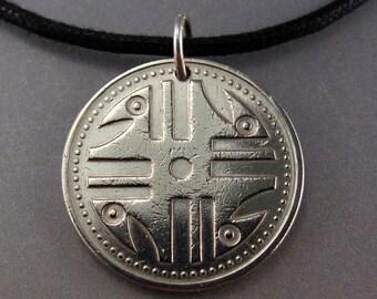 COLOMBIA pendant . Colombian coin necklace.  pesos 1994. republica de colombia. mensNo.001497