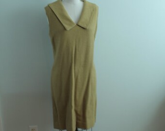 1960's Chartreuse Wool Collared Dress