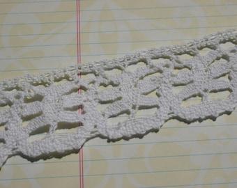 "White Cluny Lace - Six Petal Flower Pattern Crochet Trim No. 203 - 1 1/2"" Wide"