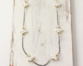 Tiny White Pearl Satelite Gold and Oxidized Silver Necklace