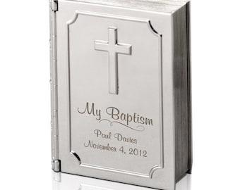 Engraved Silver Baptism Bible Keepsake