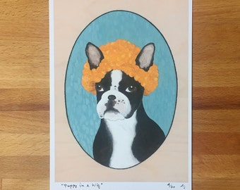 Puppy in a Wig - Unframed 5.5x8 Limited Edition Giclee Print