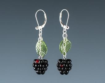 Blackberry Earrings Lampwork bead fruit jewelry hand blown glass art Birthday gift, Mother's Day gift for gardener, cook, chef