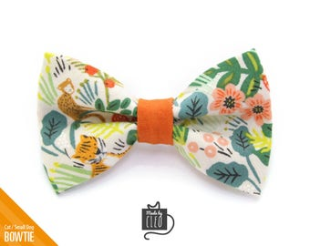 """Tropical Cat Bow Tie - """"Jungle Ivory"""" - Rifle Paper Co® Cat Collar Bowtie / Kitten Bow Tie / Hawaiian / Summer - Removable (One Size)"""