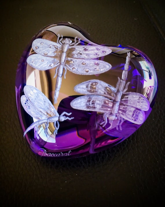 Baccarat Paperweight, handengraved dragonflies, collectible, paperweight, gifts, weddings, bridal, butterflies, valentines, Purple Heart