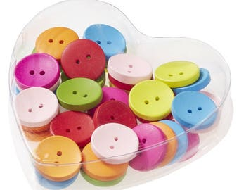 40 Wooden Knobs Ø 20 mm, coloured for clothing, scrapbooking ect.