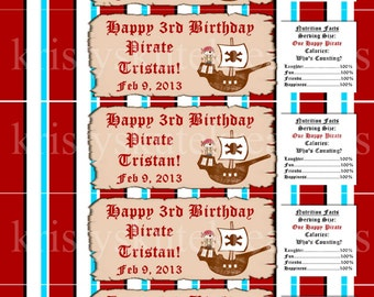 Pirate Birthday Water Bottle Wrappers-DIGITAL-check out all the matching items in my shop