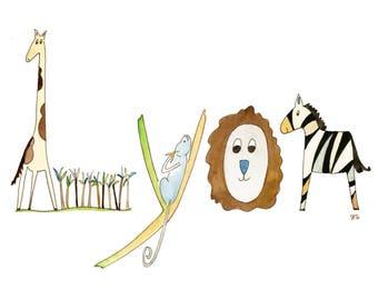 Nursery Wall Decor, Original Watercolor Name Painting, Kids Decor, Wall Art, Personalized, Safari Decor, Animals, Baby Gift, Jungle, Lyon