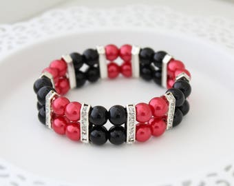 Red Black Pearl Bracelet - Holiday Gift - Gift for Wife - Christmas Present - Christmas Present - Gift for Mother - Gift for Sister
