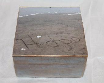 wooden treasure box, photo beach box, keepsake box