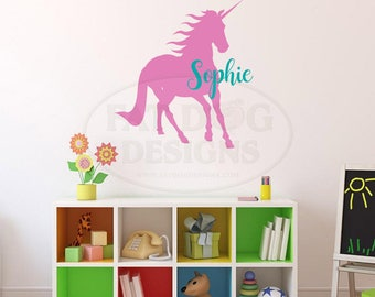 Unicorn Name Decal, Kids Personalized Name Decal Kids Name Stickers, Unicorn decorations Wall stickers for bedroom Girl wall decals Nursery