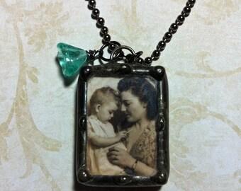 Les mères jour collier, breloque Memorial, soudé pendentif en verre, personnalisé avec votre Photo, souvenir, de mariage quelque chose vieux