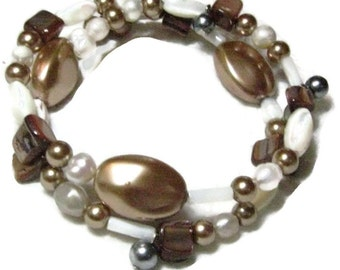 Natural Pearl and Abalone Bracelet, Abalone and Pearl Memory  Wire Bracelet