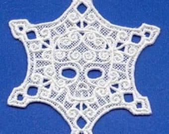 Lace skull snowflake ornament