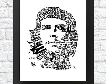 Black and White- CHE GUEVARA Word Art print (Digital Download)