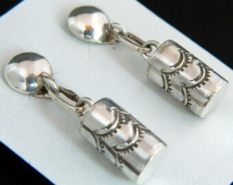 Native American Navajo Sterling Silver Handstamped Earrings