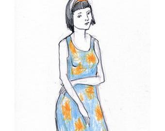 Girl drawing pencil original illustration art people figurative portrait standing woman