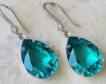 Swarovski Blue Zircon Crystal Earrings Swarovski Teal Rhinestone Jewelry Swarovski Zircon Crystal Drop Earrings Wedding Jewelry