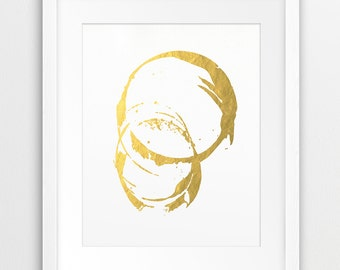 Abstract Circle Printable File, Abstract Art Gold Foil Texture - Modern Minimalist Wall Art Home Office Decor Digital Print Instant Download