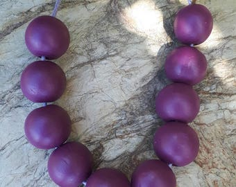 Special Order - Purple Wooden Bead Necklace