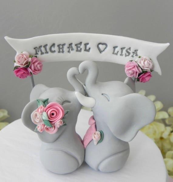 Elephant Wedding Cake Topper, Grey and Shades of Pink, Custom Phrase Banner, Bride and Groom Keepsake, Fully Custom