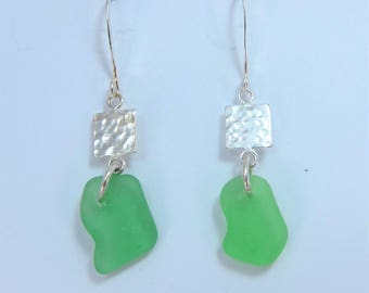Squared! Earrings with green sea glass from Cape Breton, Nova Scotia, Canada and sterling silver hammered square on a nickle-free hook