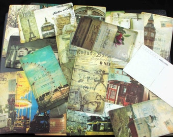 Set of 20 Slim Vintage-style Postcards of adverts and posters from around the World