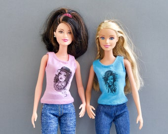 "Barbie clothes - T-Shirt - doll top, Fashion Royalty doll clothes, Doll clothes,Barbie doll clothes, 12 inches artion figure, 12"""